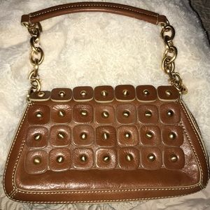 MAXX NEW YORK Brown Leather Studded Shoulder Bag